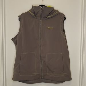 Columbia grey and yellow zip up hooded vest